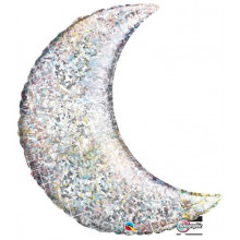 """Holographic Silver Crescent Moon - foil balloon 35"""""""