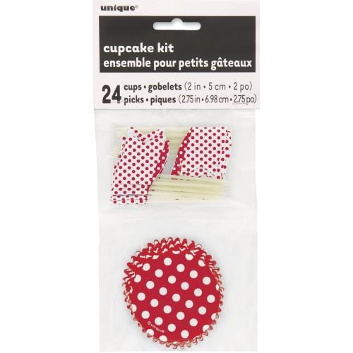 Cupcake Decorating Kit - Ruby Red Dots