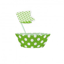 Muffins Set - Lime Green Dots