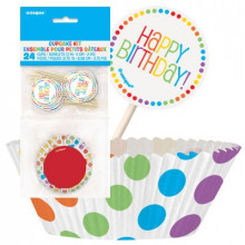 Rainbow Birthday Muffins Set