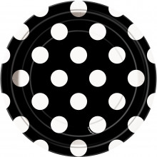 Black plates with dots 18 cm