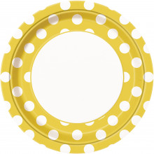 Yellow plates with dots 23 cm