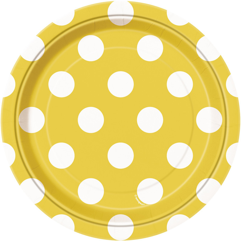 Yellow plates with dots 18 cm