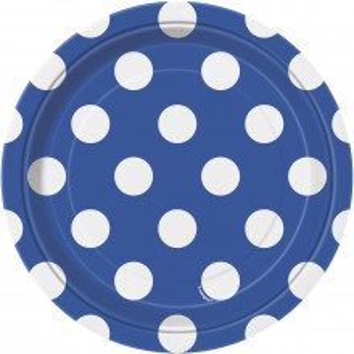 Kraljevsko modri krožniki s pikami 18 cm