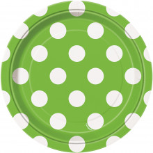 Lime green plates with dots 18 cm