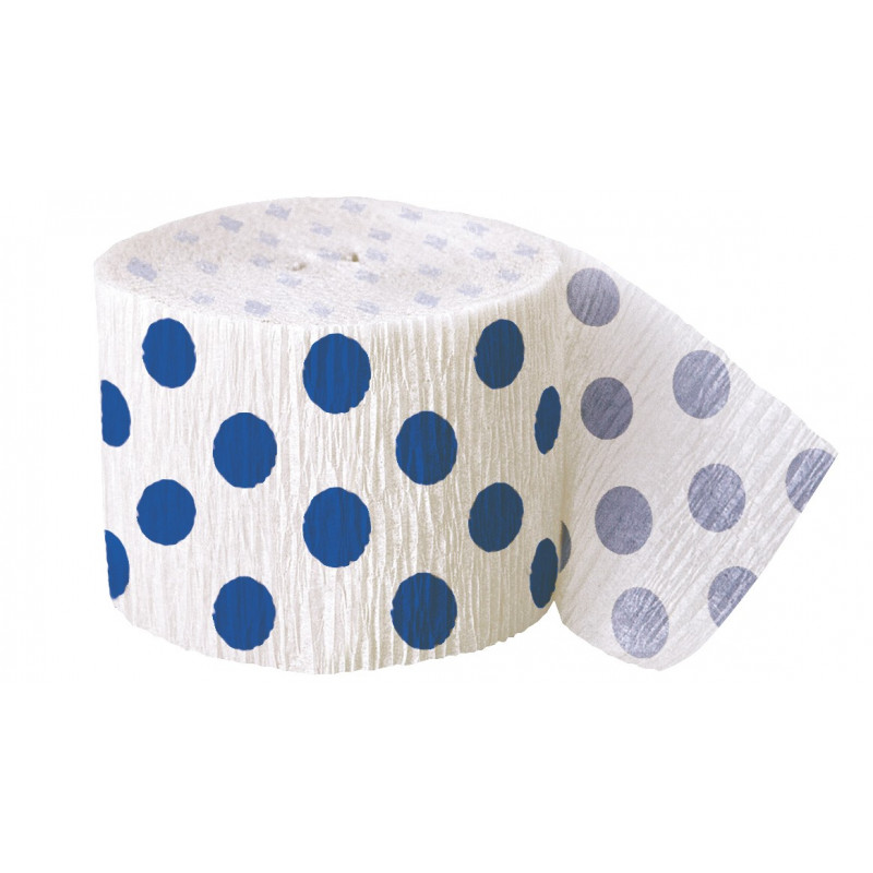 Crepe streamer with royal blue dots