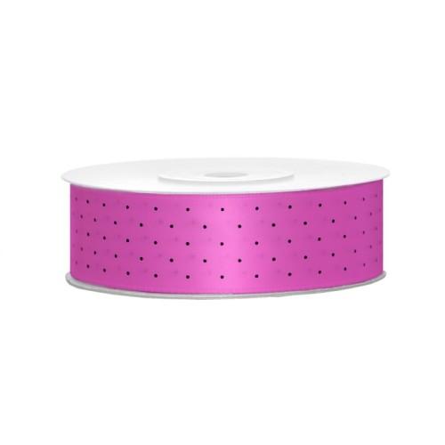 Satin ribbon with dots - fuchsia