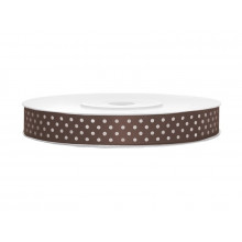 Satin ribbon with dots - chocolate brown