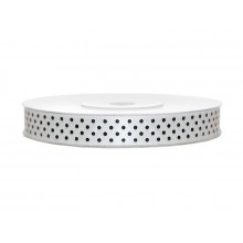 Satin ribbon with dots - white