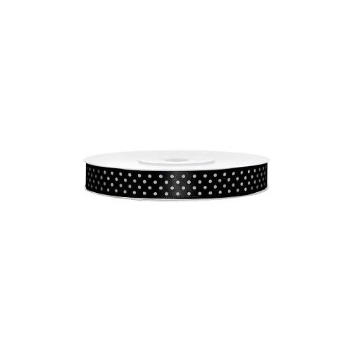 Satin ribbon with dots - black