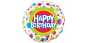 Happy Birthday Colorful Dots - foil balloon