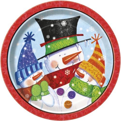 Snowman Buddies plates 9''
