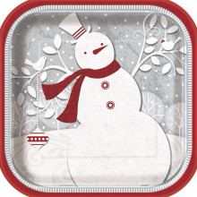 Frosted Holiday plates 9''