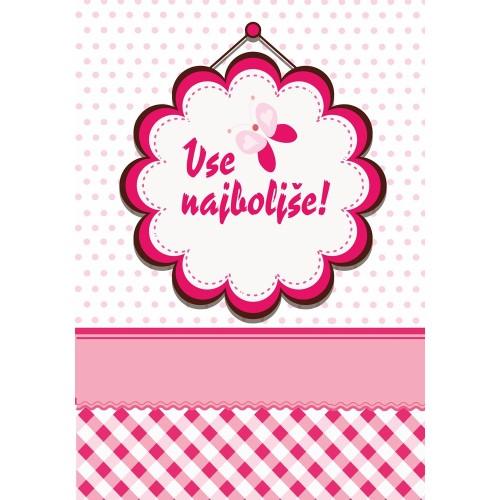 Greeting card vse najboljše pink butterfly