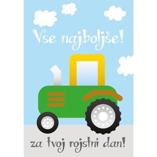 Greeting card vse najboljše tractor