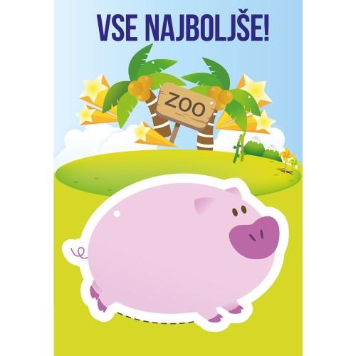 Greeting card vse najboljše pig
