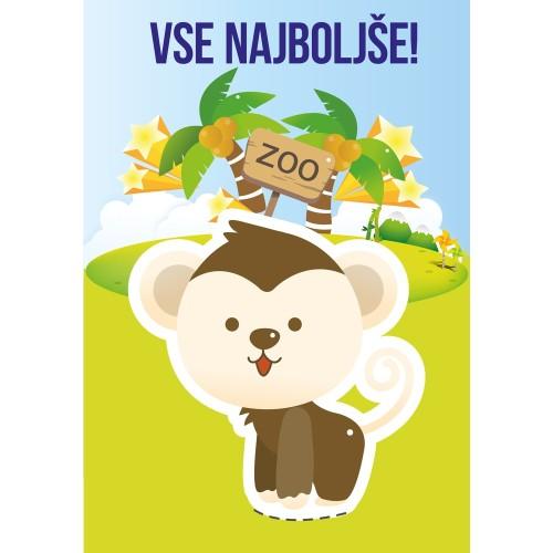 Greeting card vse najboljše monkey