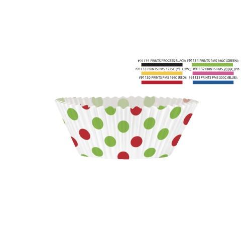 Muffin Set mit Punkten - rot/grün