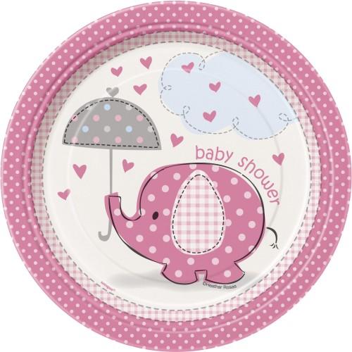 Umbrellaphants pink plates 18 cm