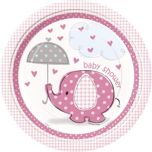 Umbrellaphants pink plates 23 cm