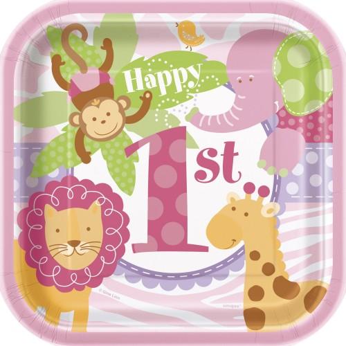 "Pink Safari plates 7"""
