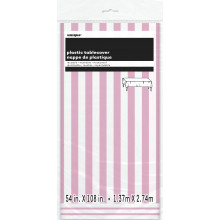 Powder pink tablecover with stripes