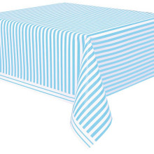 Powder blue tablecover with stripes