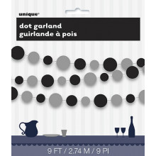 Silver & black dots garland