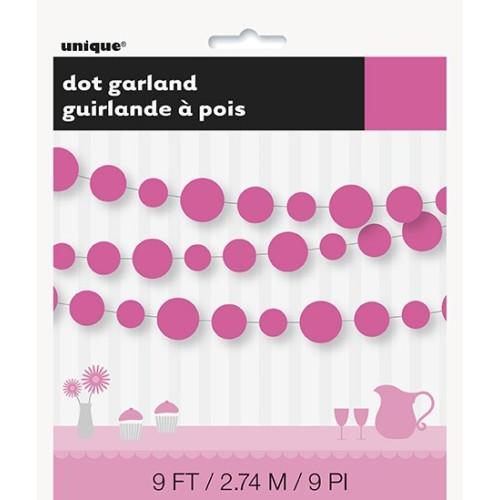 Hot pink dots garland