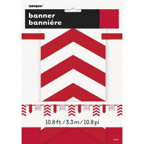 Rdeč banner s pikami in črtami