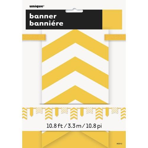 Rumen banner s pikami in črtami