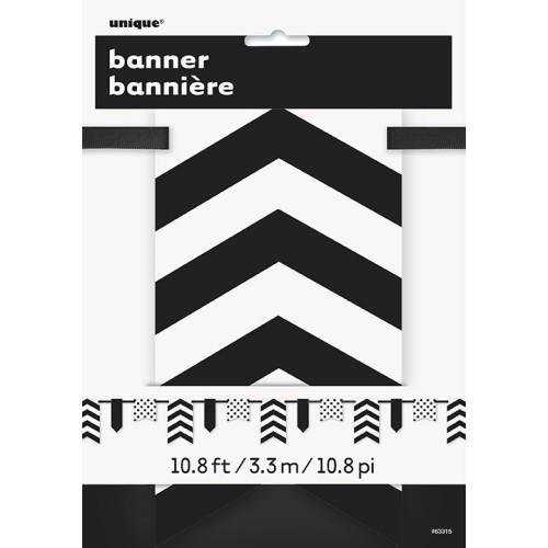 Banner mit Punkten und Streifen - schwarz