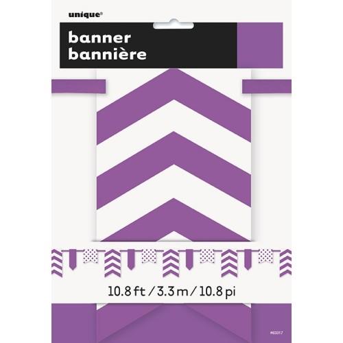 Vijoličen banner s pikami in črtami