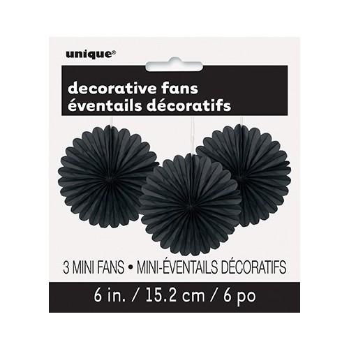 Črna mala dekorativna pahljača