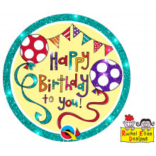 Rachel Ellen Happy Birthday green badge