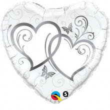 Entwined Hearts Silver - foil balloon