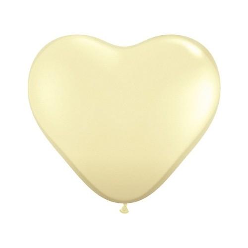 """Balloon heart 6"""" - ivory silk"""