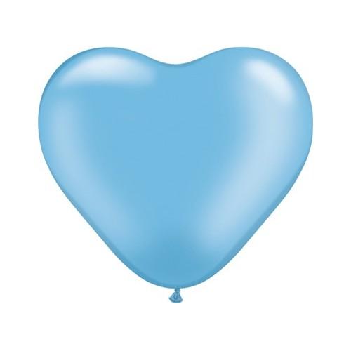 """Balloon heart 6"""" - pearl azure"""