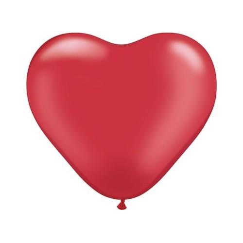Balon srce 15 cm - pearl rubinasto rdeč