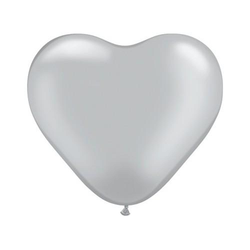 Balon srce 15 cm - srebrn