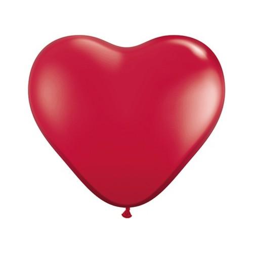 Balon srce 90 cm - rubinasto rdeč - 1 kom