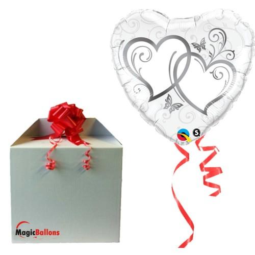 Entwined Hearts Silver - folija balon v paketu