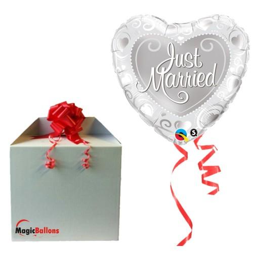 Just Married Hearts Silver - folija balon v paketu