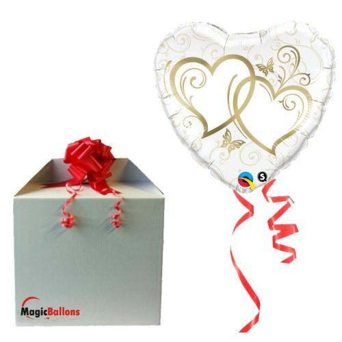 Entwined Hearts Gold - folija balon v paketu