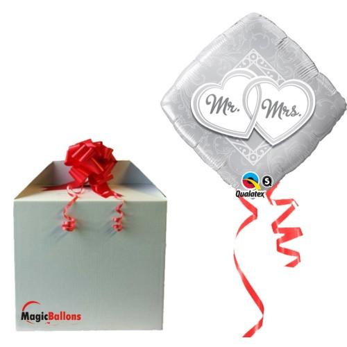 Mr & Mrs Entwined Hearts - folija balon v paketu