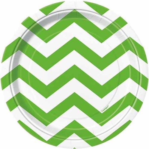 "Chevron lime green plates 7"""