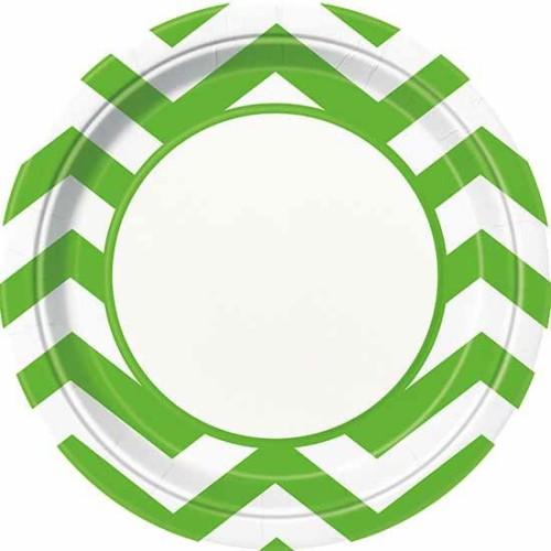 Chevron svetlo zeleni krožniki 23 cm