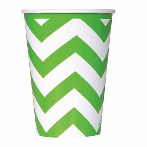 Chevron lime green cups