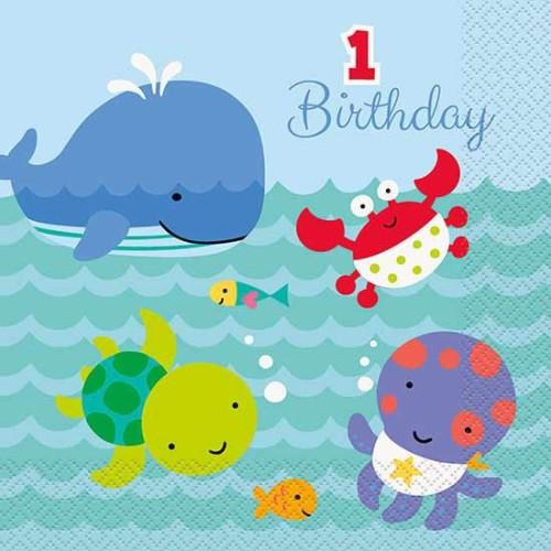 Under the sea pals napkins 1 st birthday