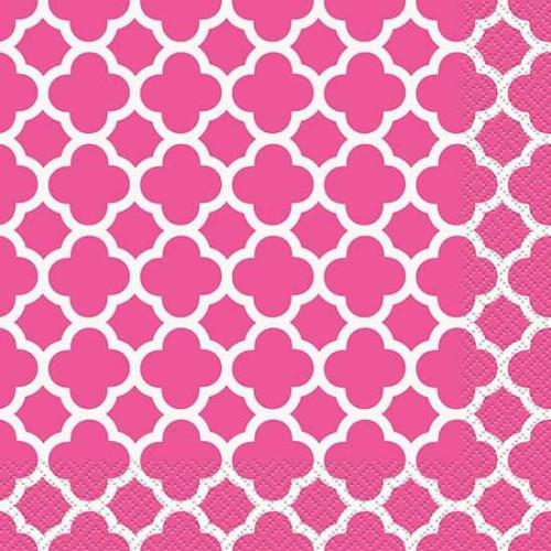 Quatrefoil pink mali servieti
